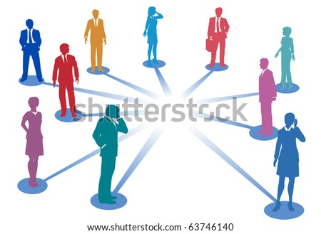 Nodes connect business people on network connections with copy space in the middle - stock photo