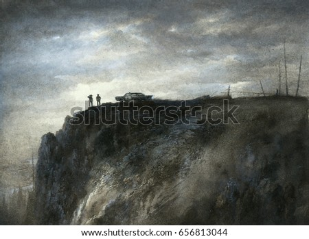 Noir scene. Ranger, policeman and their car are standing at the edge of the cliff.