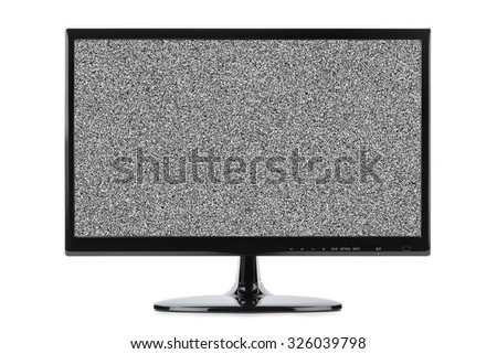 Noise on TV screen isolated on white background - stock photo