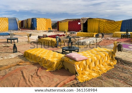 Nomad camp for tourists in Erg Chigaga, Morocco, Africa - stock photo