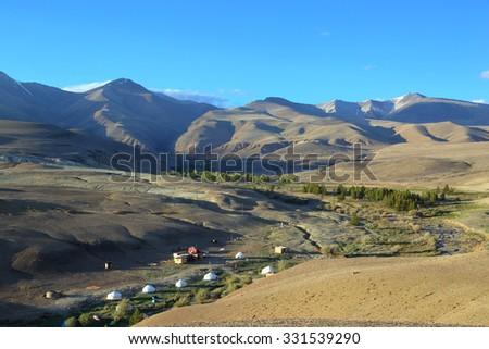 nomadic yurt camp in Altay mountains - stock photo
