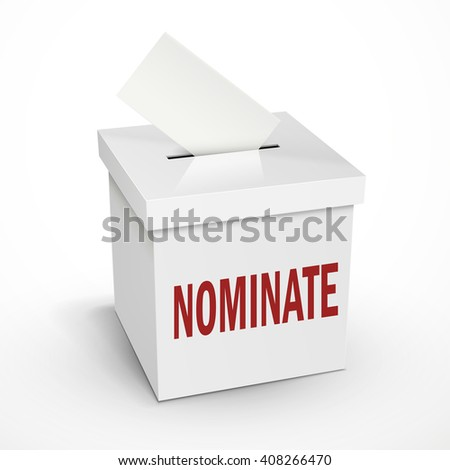 nominate word on the 3d illustration white voting box isolated on white background - stock photo