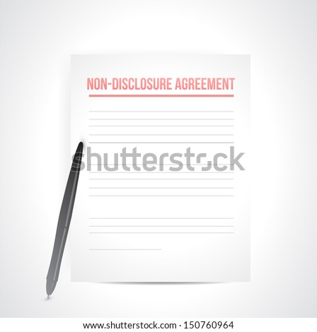 non disclosure agreement documents. illustration design over white - stock photo