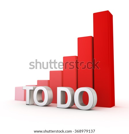 Non-effective time management concept. Excessive increase in number of problems. Planning of todo list. The word TO-DO against growing up red chart. 3D illustration about stress and procrastination