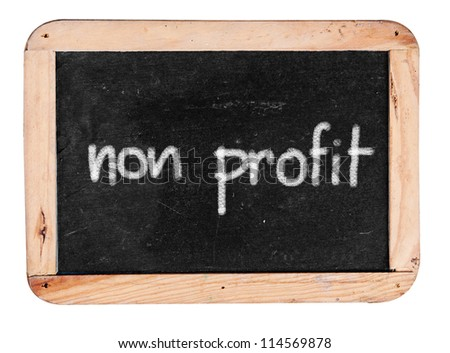 non profit - white chalk handwriting on isolated vintage slate blackboard - stock photo