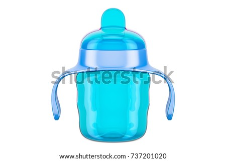 Non-spill cup, blue color. 3D rendering isolated on white background