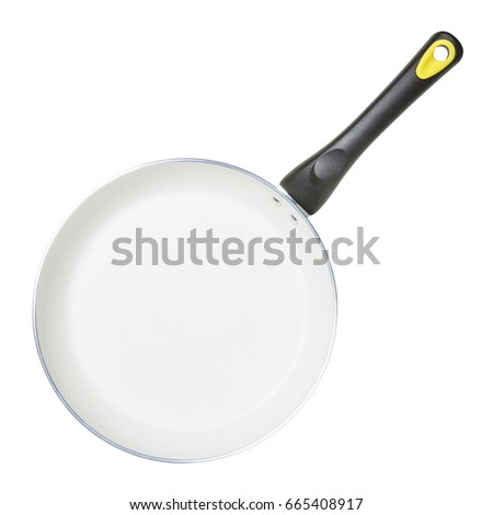 nonstick frying pan or skillet pan isolated on white background top view of