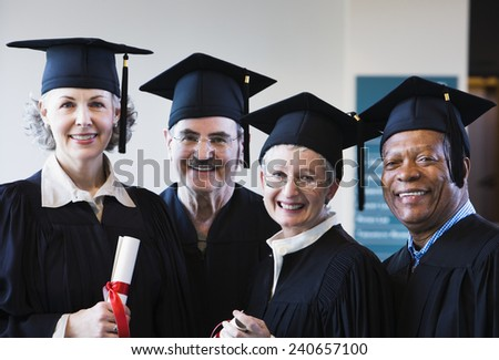 Non-Traditional Students Graduating - stock photo