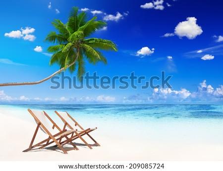 Non-Urban Scene of Tropical Beach in Summer - stock photo