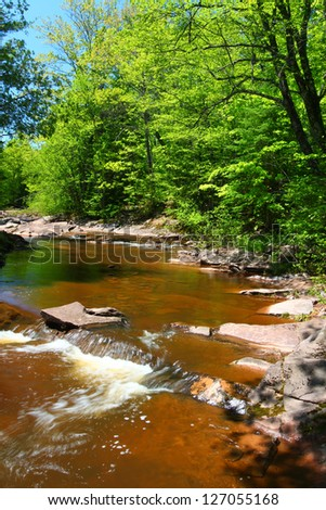 Nonesuch Falls in the Porcupine Mountains Wilderness State Park - stock photo