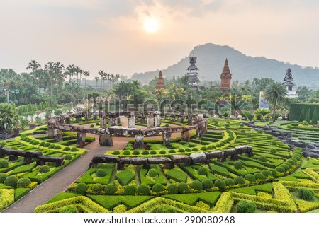 Nong Nooch Tropical Botanical Gardenat sunrise , Pattaya, Thailand - stock photo