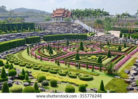Nong Nooch Tropical Garden in Pattaya, Thailand, formal garden - stock photo