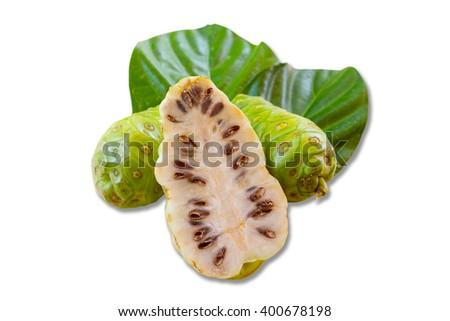 Noni fruit  isolated on white background - stock photo