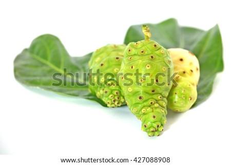 Noni fruit on white isolated background - stock photo