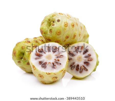 Noni fruits on white background