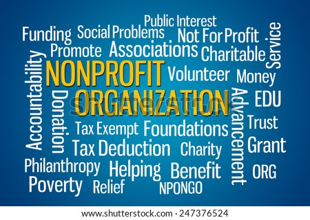 Nonprofit Organization word cloud on Blue Background - stock photo