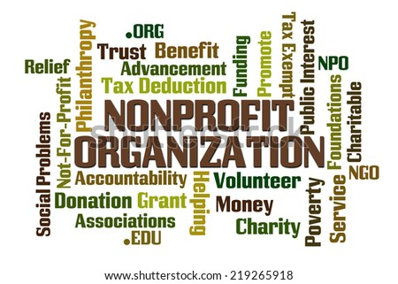 NonProfit Organization word cloud on white background - stock photo