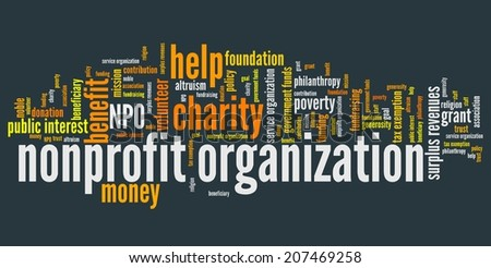 Nonprofit organizations issues and concepts word cloud illustration. Word collage concept. - stock photo