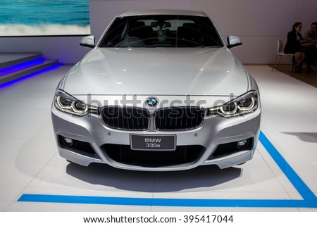 NONTABURI, THAILAND - 23 MAR : BMW 330e,a plug-in hybrid sedan, showed in Thailand the 37th Bangkok International Motor Show on 23 March 2016 - stock photo