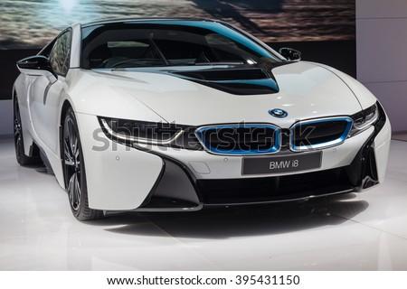 NONTABURI, THAILAND - 23 MAR : BMW i8 ,a plug-in hybrid sports car, showed in Thailand the 37th Bangkok International Motor Show on 23 March 2016 - stock photo