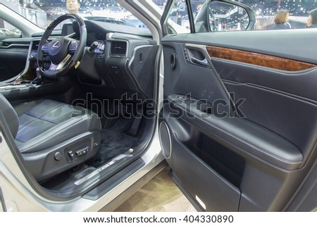 NONTABURI, THAILAND - 23 MAR :Inside of Lexus RX 200t showed in Thailand the 37th Bangkok International Motor Show on 23 March 2016 - stock photo