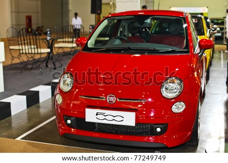NONTABURI,THAILAND-MAY,15: a Fiat 500 on display at the Super Car & Import Car Show,May 15,2011 in Nontaburi, Thailand