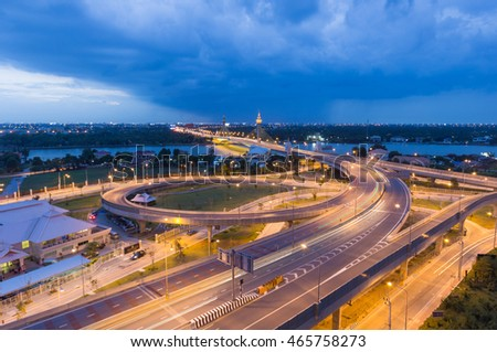 Nonthaburi Bridge at twilight time. One of the most beautiful bridges in Thailand. Located in Nonthaburi Province
