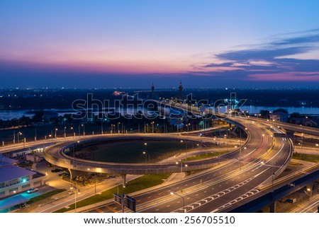 Nonthaburi bridge, Thailand with sunset
