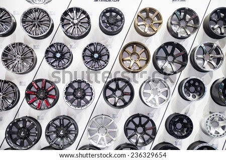 NONTHABURI - DECEMBER 4 :Alloy wheels by   LENSO on display at MOTOR EXPO 2014 on Dec   4,2014 in Nonthaburi, Thailand. - stock photo
