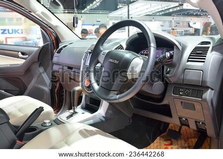 NONTHABURI - DECEMBER 1: Interior design of Isuzu mu-X SUV car display at Thailand International Motor Expo on December 1, 2014 in Nonthaburi, Thailand. - stock photo