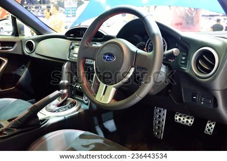 NONTHABURI - DECEMBER 1: Interior design of Subaru BRZ 2.0 car display at Thailand International Motor Expo on December 1, 2014 in Nonthaburi, Thailand. - stock photo