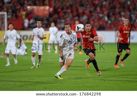 NONTHABURI-FEB 8,Nguyen Van Bien(W) of Hanoi T&T in action during a friendly match AFC Champions League 2014 between SCG Muangthong utd and Hanoi T&T at SCG Stadium on February8,2014 in Thailand