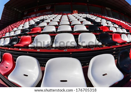 NONTHABURI-FEB 8:The home stadium of Muangthong United during football AFC Champions League 2014 between MTUTD and Hanoi T&T at SCG stadium on February8,2014 in Thailand   - stock photo