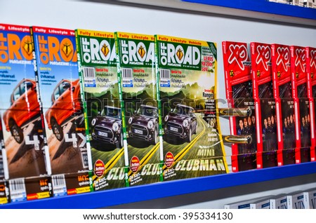 NONTHABURI - MARCH 22: Car magazine on bookshelf on display at The 37th Bangkok International Thailand Motor Show 2016 on March 22, 2016 Nonthaburi, Thailand.