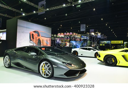 NONTHABURI - MARCH 24: Lamborghini  Huracan on display at The 37th Bangkok International Motor show on MARCH 24, 2016 in Nonthaburi, Thailand.