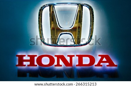 NONTHABURI - MARCH 24:  Logo of Honda on display at Thailand 36th Bangkok International Motor Show 2015 on March 24, 2015 in Nonthaburi, Thailand.