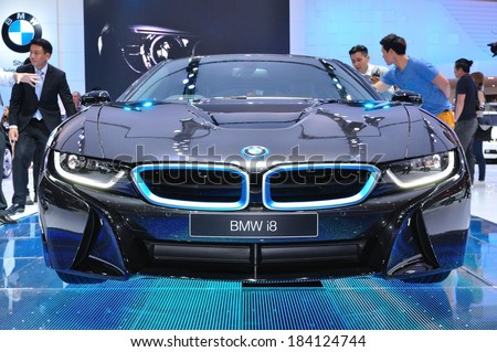 NONTHABURI - MARCH 25: NEW BMW I8  on display at The 35th Bangkok International Motor show on MARCH 25, 2014 in Nonthaburi, Thailand. - stock photo