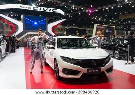 NONTHABURI - MARCH 23: NEW Honda Civic 2016 on display at The 37th Bangkok International Motor show on MARCH 23, 2016 in Nonthaburi, Thailand. - stock photo
