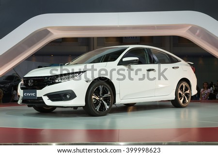 NONTHABURI - MARCH 23: NEW Honda Civic 2016 on display at The 37th Bangkok International Motor show on MARCH 23, 2016 in Nonthaburi, Thailand.