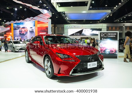 NONTHABURI - MARCH 23: NEW Lexus RC 200t on display at The 37th Bangkok International Motor show on MARCH 23, 2016 in Nonthaburi, Thailand. - stock photo