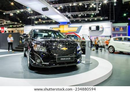 NONTHABURI - NOVEMBER 28:  Chevrolet  Cruze 2.0 LTZ car on display at Thailand International Motor Expo 2014 on November 28, 2014 in Nonthaburi, Thailand. - stock photo