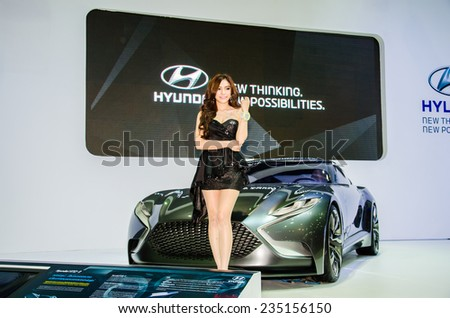 NONTHABURI - NOVEMBER 28:  Hyundai HND-9 with Unidentified model on display at Thailand International Motor Expo 2014 on November 28, 2014 in Nonthaburi, Thailand. - stock photo