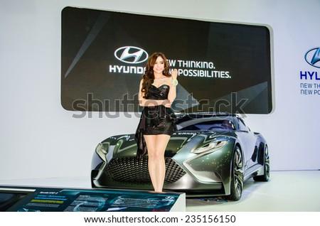 NONTHABURI - NOVEMBER 28:  Hyundai HND-9 with Unidentified model on display at Thailand International Motor Expo 2014 on November 28, 2014 in Nonthaburi, Thailand. - stock photo