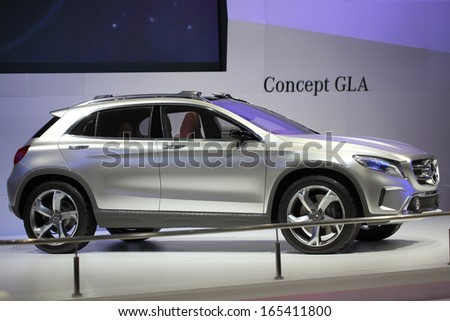 NONTHABURI - NOVEMBER 28: Mercedes-Benz Concept GLA car display on stage at The 30th Thailand International Motor Expo on November 28, 2013 in Nonthaburi, Thailand.