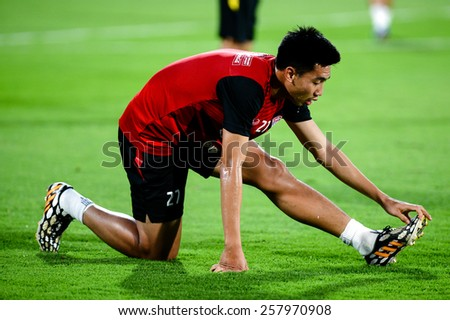 NONTHABURI THAI-FEB 21:Chananan Pombuppha of Muangthong Utd.in action during Thai Premier League 2015 between SCG Muangthong UTD. and Buriram UTD.at SCG Stadium on February 21,2015 in,Thailand - stock photo
