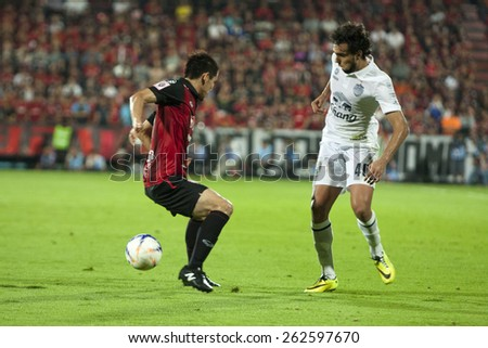 NONTHABURI THAI-FEB 21: Diogo Santo of Buriram Utd.in action during Thai Premier League ( TPL ) 2015 between SCG Muangthong Utd.and Buriram UTD.at SCG Stadium on February 21,2015 in,Thailand - stock photo