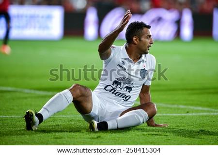 NONTHABURI THAI-FEB 21:Gilberto Macena of Buriram Utd.reacts during the Thai Premier League 2015 between SCG Muangthong UTD. and Buriram UTD.at SCG Stadium on February 21,2015 in,Thailand - stock photo