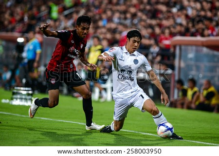 NONTHABURI THAI-FEB 21:Go Seul-ki #7 of Buriram Utd. during the Thai Premier League between SCG Muangthong UTD. and Buriram UTD.at SCG Stadium on February 21,2015 in,Thailand - stock photo