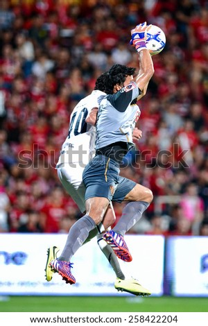 NONTHABURI THAI-FEB 21:Goalkeeper Kawin Thamsatchanan of Muangthong Utd. during the Thai Premier League 2015 between SCG Muangthong UTD. and Buriram UTD.at SCG Stadium on February 21,2015 in,Thailand - stock photo