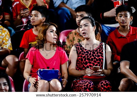 NONTHABURI THAI-FEB 21:Unidentified  football fans of SCG Muangthong during the Thai Premier League 2015 between SCG Muangthong UTD. and Buriram UTD.at SCG Stadium on February 21,2015 in,Thailand - stock photo